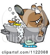 Relaxed Dog Bathing In A Tub With A Rubber Duck
