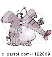 Cartoon Of A Republican Elephant Wearing A Button And Holding Up A Finger Royalty Free Vector Clipart