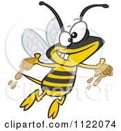 Cartoon Of A Happy Bee With Honey On His Hands Royalty Free Vector Clipart by toonaday