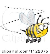 Cartoon Of A Happy Bumblebee Buzzing Around Royalty Free Vector Clipart