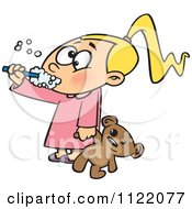 Girl Holding Her Teddy Bear And Brushing Her Teeth Before Bedtime