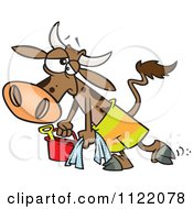 Cartoon Of A Depressed Cow Leaving The Beach Royalty Free Vector Clipart