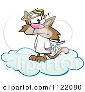 Cartoon Of A Confused Angel Cat In Heaven Royalty Free Vector Clipart