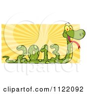 Cartoon Of A Coiled New Year 2013 Snake With Rays Royalty Free Vector Clipart