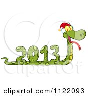 Cartoon Of A Coiled New Year 2013 Snake Wearing A Santa Hat Royalty Free Vector Clipart