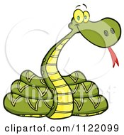 Cartoon Of A Coiled Snake Royalty Free Vector Clipart by Hit Toon