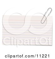 Blank Lined Index Note Card With A Paperclip On The Corner