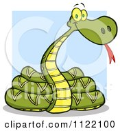 Cartoon Of A Coiled Snake Over A Blue Square Royalty Free Vector Clipart