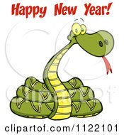 Cartoon Of A Coiled New Year 2013 Snake With Text 1 Royalty Free Vector Clipart by Hit Toon