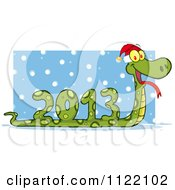 Cartoon Of A Coiled New Year 2013 Snake Wearing A Santa Hat In The Snow Royalty Free Vector Clipart