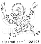 Cartoon Of An Outlined Running Zombie Pirate Royalty Free Vector Clipart by Hit Toon