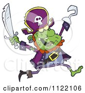 Cartoon Of A Running Zombie Pirate 1 Royalty Free Vector Clipart by Hit Toon