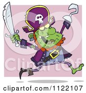 Cartoon Of A Running Zombie Pirate Over Purple Royalty Free Vector Clipart by Hit Toon