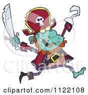 Cartoon Of A Running Zombie Pirate 2 Royalty Free Vector Clipart by Hit Toon