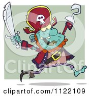 Cartoon Of A Running Zombie Pirate Over Green Royalty Free Vector Clipart by Hit Toon