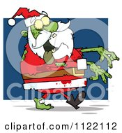Cartoon Of A Zombie Santa Claus Over Blue Royalty Free Vector Clipart by Hit Toon