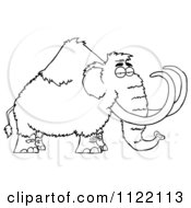 Cartoon Of An Outlined Wooly Mammoth Royalty Free Vector Clipart