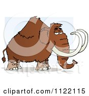 Cartoon Of A Wooly Mammoth Over Blue Royalty Free Vector Clipart