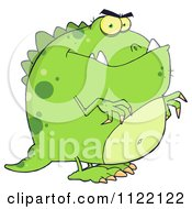 Cartoon Of A Green Dinosaur Royalty Free Vector Clipart by Hit Toon