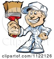 Happy Male House Painter Holding Up A Brush