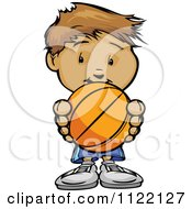 Cartoon Of A Cute Boy Holding A Basketball Royalty Free Vector Clipart by Chromaco