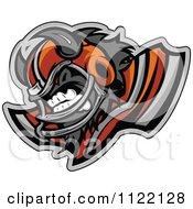 Clipart Of A Competitive Buffalo Football Player Mascot With Shoulder Pads Royalty Free Vector Illustration