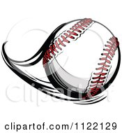 Cartoon Of A Flast Flying Baseball Royalty Free Vector Clipart