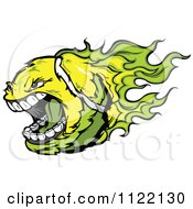 Cartoon Of A Screaming Flaming Tennis Ball Royalty Free Vector Clipart