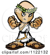 Cartoon Of A Tough Guy In A Toga Holding Up Fists Royalty Free Vector Clipart by Chromaco