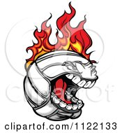 Cartoon Of A Screaming Flaming Volleyball Mascot Royalty Free Vector Clipart