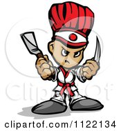 Cartoon Of A Tough Hibachi Chef Royalty Free Vector Clipart by Chromaco