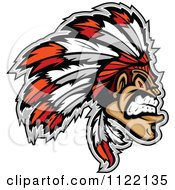 Clipart Of An Aggressive Native American Indian Chief Royalty Free Vector Illustration by Chromaco