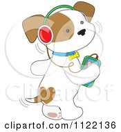 Cartoon Of A Cute Puppy Dog Wagging His Tail And Listening To Music Through An Mp3 Player Royalty Free Vector Clipart