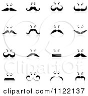 Clipart Of Mens Faces With Mustaches And Reflections Royalty Free Vector Illustration by KJ Pargeter