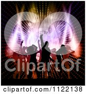 Clipart Of Silhouetted Dancers Over A Music Speaker And Lights Royalty Free Vector Illustration
