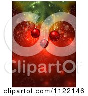 Clipart Of 3d Christmas Baubles Suspended From A Tree Branch Over Red With Sparkles Royalty Free Vector Illustration