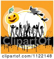 Clipart Of Silhouetted Dancers With Gurnge A Halloween Pumpkin And Witches On Orange Royalty Free Vector Illustration