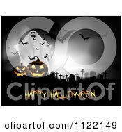 Clipart Of A Ghost Behind Jackolanterns In A Cemetery With Bats And Happy Halloween Text Royalty Free Vector Illustration