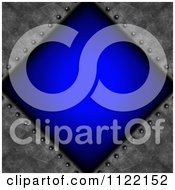 Clipart Of A Blue Diamond And Riveted Cement Background Royalty Free CGI Illustration