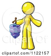Cartoon Of A Yellow Woman Vintner Wine Maker Holding Grapes Royalty Free Vector Clipart