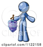 Cartoon Of A Blue Woman Vintner Wine Maker Holding Grapes Royalty Free Vector Clipart