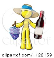 Cartoon Of A Yellow Woman Vintner Wine Maker Wearing A Hat And Holding Grapes And Wine Royalty Free Vector Clipart