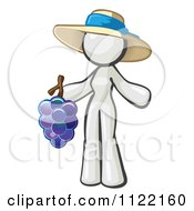 Cartoon Of A White Woman Vintner Wine Maker Wearing A Hat And Holding Grapes Royalty Free Vector Clipart by Leo Blanchette