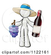 Cartoon Of A White Woman Vintner Wine Maker Wearing A Hat And Holding Grapes And Wine Royalty Free Vector Clipart by Leo Blanchette