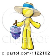 Cartoon Of A Yellow Woman Vintner Wine Maker Wearing A Hat And Holding Grapes Royalty Free Vector Clipart by Leo Blanchette