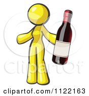 Cartoon Of A Yellow Woman Vintner Holding A Bottle Of Red Wine Royalty Free Vector Clipart
