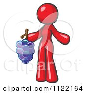 Cartoon Of A Red Woman Vintner Wine Maker Holding Grapes Royalty Free Vector Clipart