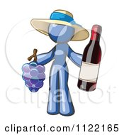 Cartoon Of A Blue Woman Vintner Wine Maker Wearing A Hat And Holding Grapes And Wine Royalty Free Vector Clipart