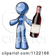 Cartoon Of A Blue Woman Vintner Holding A Bottle Of Red Wine Royalty Free Vector Clipart