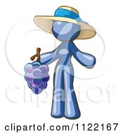 Cartoon Of A Blue Woman Vintner Wine Maker Wearing A Hat And Holding Grapes Royalty Free Vector Clipart